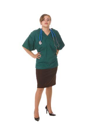 pretty hispanic nurse or doctor isolated on white