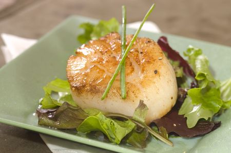 open topped: A single large scallop on a a bed of lettuce