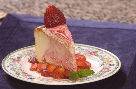 Plate of strawberry cheescake photo