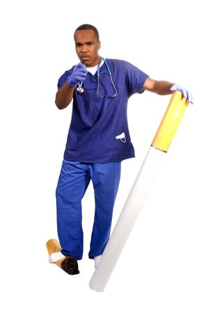 young African American doctor admonishing children, for use in an anti smoking campaign photo