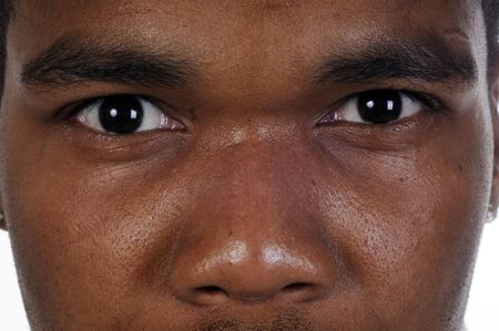 Closeup of African american mans eyes-the look of Mohamed Ali