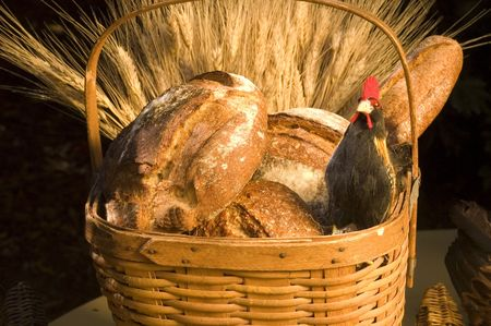 Bread in a basket with a chicken