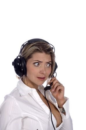 sexy Female Air traffic controller or pilot looking confused isolated on white photo