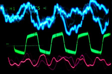Multiple colored waveforms on an oscilloscope Banco de Imagens