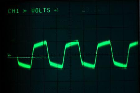 Square golf op een oscilloscoop Stockfoto