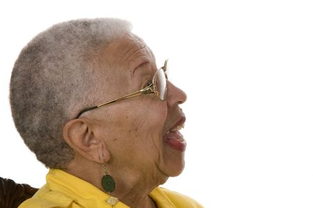 Attractive Elderly African American Woman isolated on white in profile
