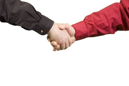 Handshake between two men over a white background Stock Photo