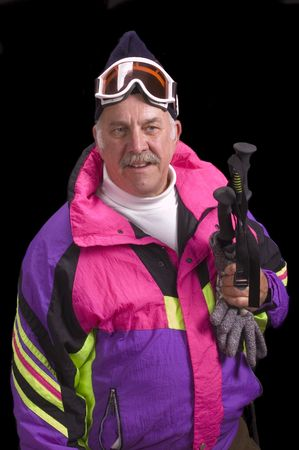 baby boomer: Baby boomer skier isolated on black