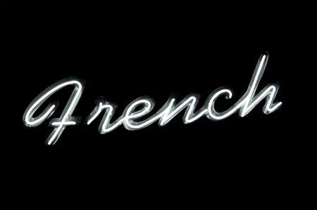 """Letrero de neón con la palabra """"francés"""" en negro Foto de archivo - 4050878"""