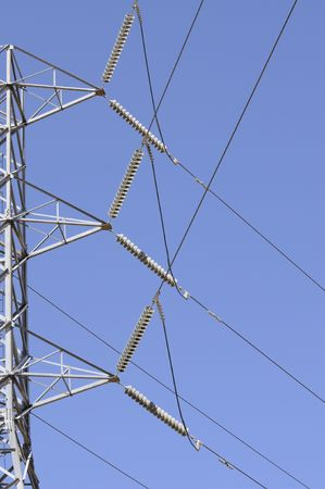 alternate: Distribution lines from alternate energy power source wind generator farm in California  Stock Photo