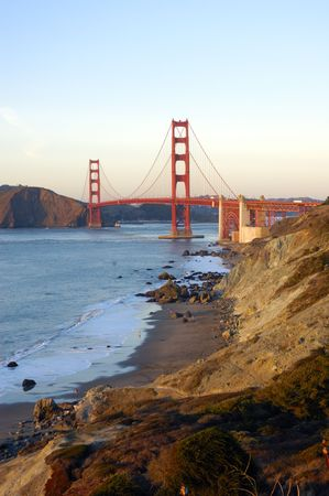 Golden gate bridge from the Presidio, with sail boats and a cruise ship in the bay photo