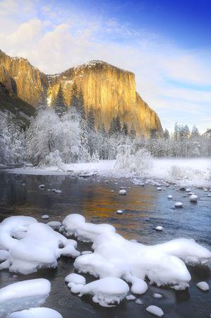 Sunset on the granite peaks in Yosemite valley photo