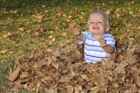 Infant playing in the leaves during fall