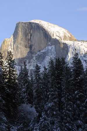 Sunset on the Half Dome in Yosemite valley photo