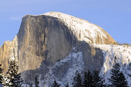 Sunset on tHalf Dome in Yosemite valley photo