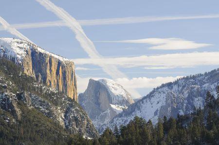 Sun rise on the granite peaks in Yosemite valley photo