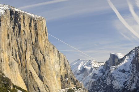 Sun rise on the granite peaks in Yosemite valley photo