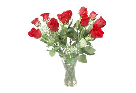 baby's: Beautiful red roses with bays breath in a vase for valentines! Stock Photo