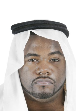 headress: young middle-eastern man with beard, in Arabian headress, isolated on white background