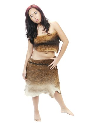 hides: young brunette ASIAN woman dressed in animal hides