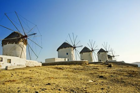 Old windmills on the greek island of Mykonos