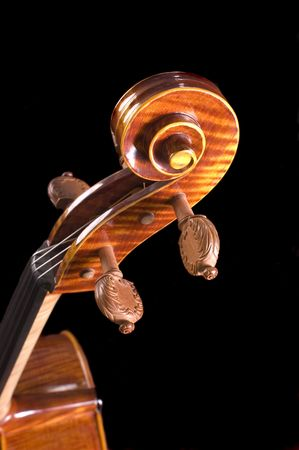 worked: head part of a beautiful cello with finely worked knobs, over black with a shallow DOF