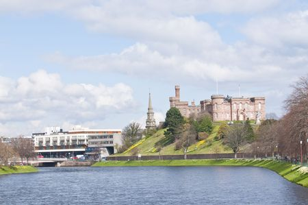 View along the river Ness toward Inverness Castle