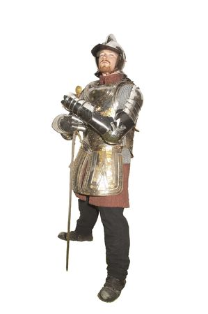 chain armour: Man in an Historical enactment of Knight in armor