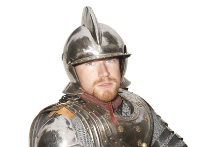 enactment: closeup of young man in armor during a Historical enactment, isolated on white