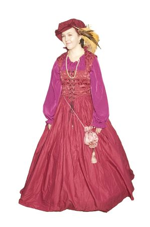 period costume: woman in an Elizabethan  period costume isolated on white Stock Photo