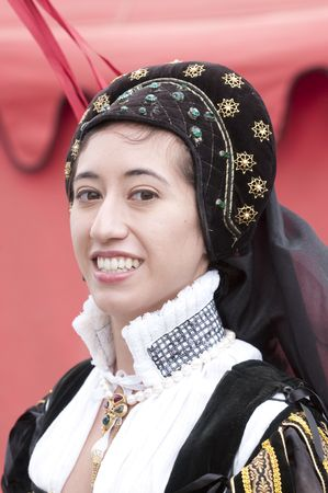 young woman in traditional elizabethan era spanish costume Stok Fotoğraf