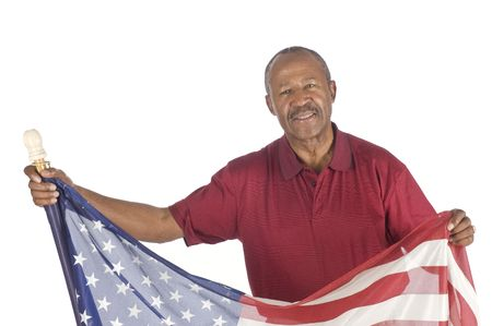 anthem: African American senior citizen with Stars and stripes isolated over white Stock Photo