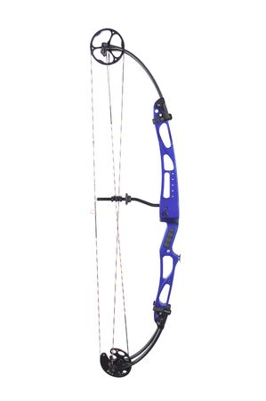Blue compound bow isolated on a white background photo