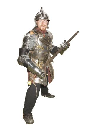 enactment: Man in an Historical enactment of Knight in armor, isolated on white background