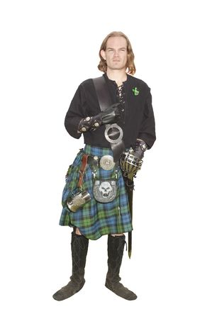 enactment: young man who is a member of the Scottish Campbell clan, isolated on white Stock Photo