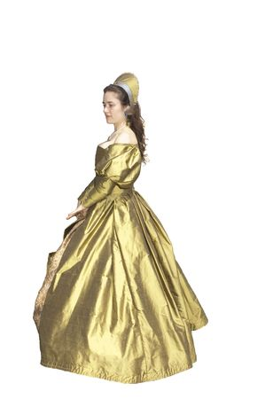 enactment: woman in an Elizabethan style period dress isolated on white Stock Photo