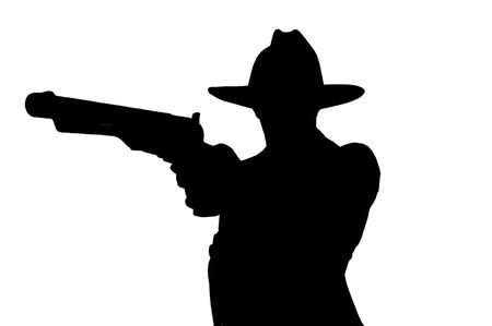 silhouette of man pointing gun  photo