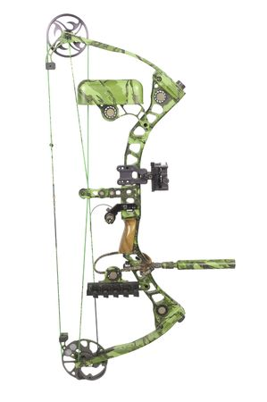 modern, camouflaged, compound hunting bow photo