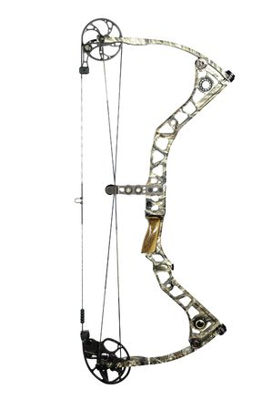 modern, camouflaged, compound hunting bow isolated on white photo