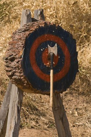 Axe throwing in a Lumberjack competition