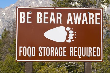 Be Bear Aware - food storage required sign Stock Photo - 5903939
