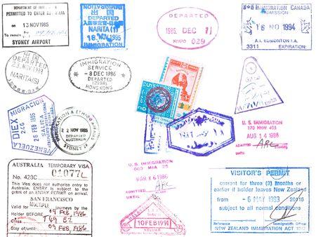 切手や日本、韓国、香港、オーストラリア、ベネズエラ、米国、エジプトから白 backround の査証のコレクション