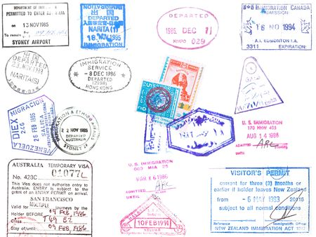 A collection of stamps and visas on a white backround from Japan, Korea, Hong Kong, Australia, Venezuela, United States and Egypt Imagens