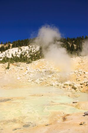 the caustic: Mount Lassen sulpher springs and mud baths venting caustic steam Stock Photo
