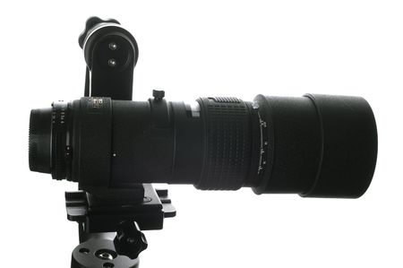 tripod mounted: A 300 mm lens mounted onto a gimbal style tripod head
