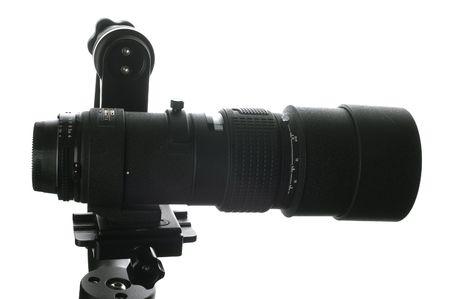 tripod mounted: A 300 mm lens mounted onto a gimbal style tripod head