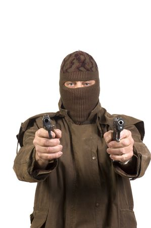 terrorist in mask with guns isolated on a white background Imagens
