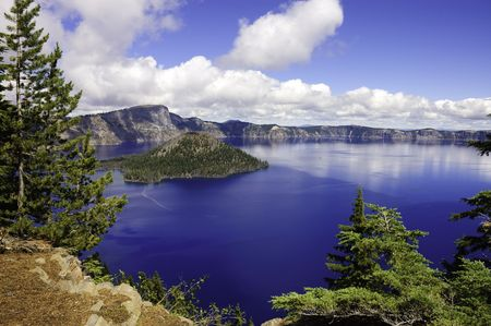 view of Crater lake in Oregon looking towards Wizard island photo