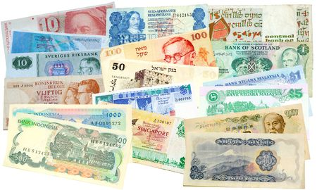 collection of money from around the world signifying how tightly the world economies are tied together Stock Photo - 6420819