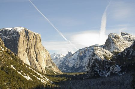 Sunset on Half Dome and El Capitan in Yosemite valley photo